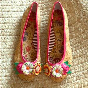 EUC GB Girls Floral Cork Shoes